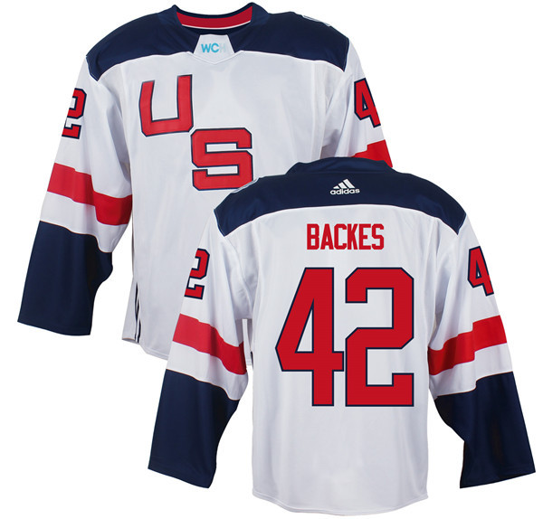 Mens Team USA 42 David Backes 2016 World Cup of Hockey Olympics Game White Jerseys