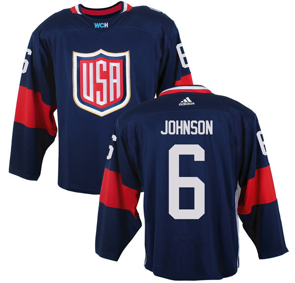Mens Team USA 6 Erik Johnson 2016 World Cup of Hockey Olympics Game Navy Blue Jerseys