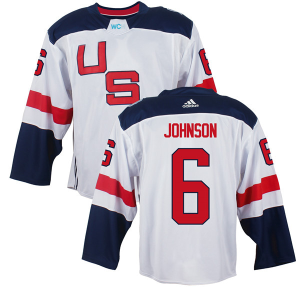 Mens Team USA 6 Erik Johnson 2016 World Cup of Hockey Olympics Game White Jerseys