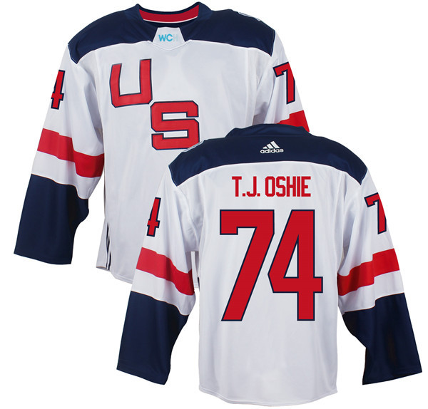 Mens Team USA 74 T. J. Oshie 2016 World Cup of Hockey Olympics Game White Jerseys