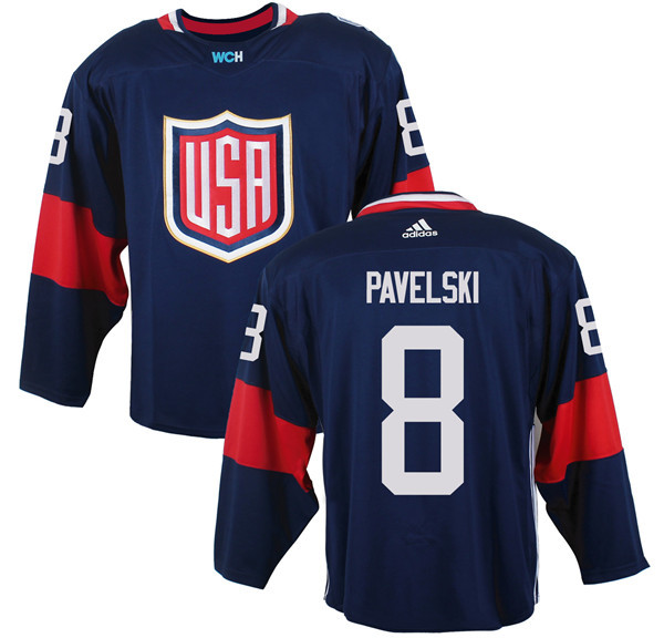 Mens Team USA 8 Joe Pavelski 2016 World Cup of Hockey Olympics Game Navy Blue Jerseys