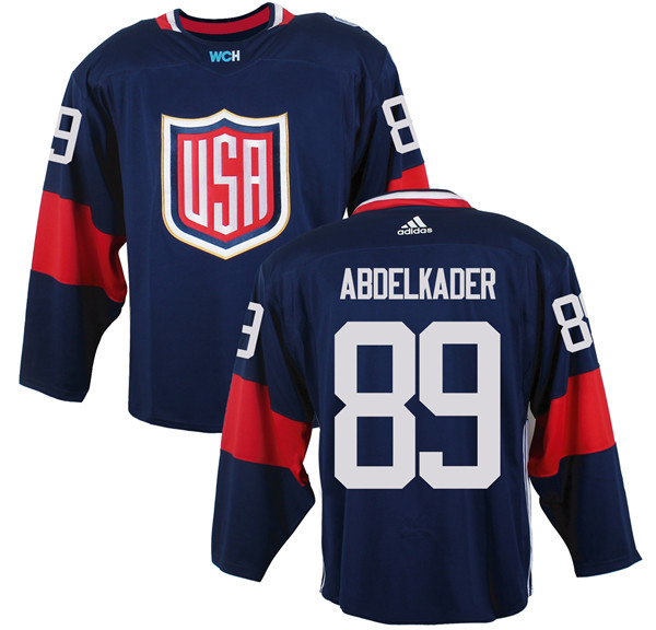Mens Team USA 89 Justin Abdelkader 2016 World Cup of Hockey Olympics Game Navy Blue Jerseys