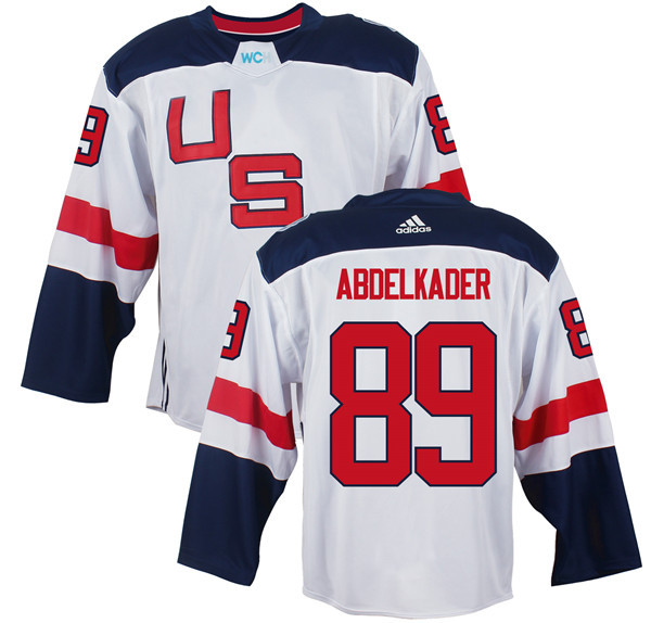 Mens Team USA 89 Justin Abdelkader 2016 World Cup of Hockey Olympics Game White Jerseys