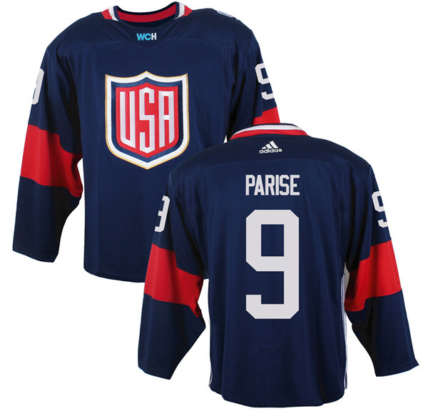 Mens Team USA 9 Zach Parise 2016 World Cup of Hockey Olympics Game Navy Blue Jerseys