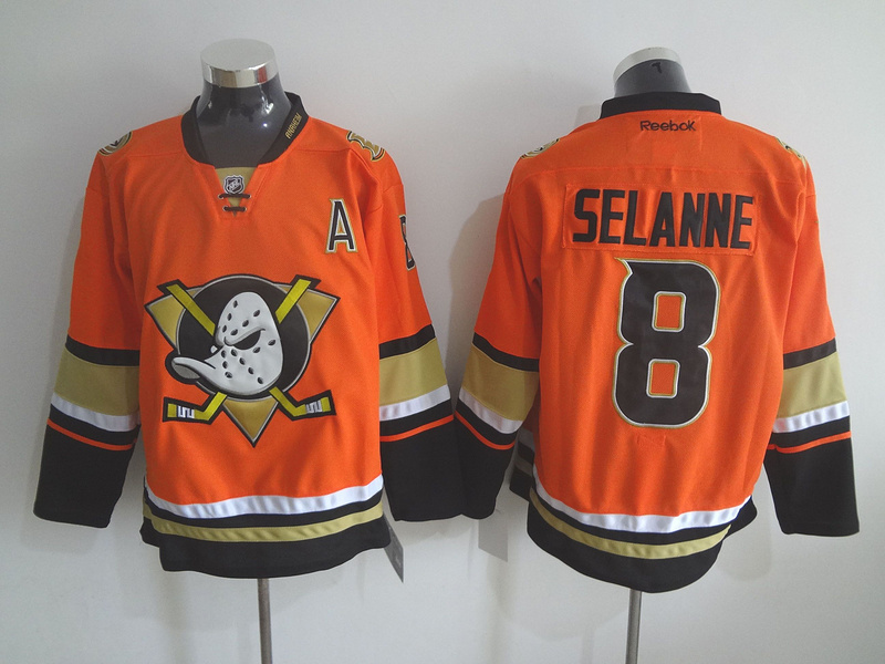 NHL Anaheim Ducks 8 Teemu Selanne Orange 2015 Jerseys