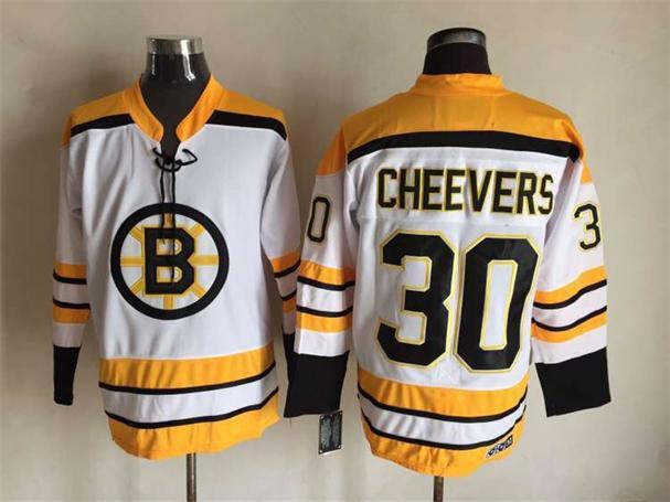 NHL Boston Bruins 30 Gerry Cheevers 1971-1972 Thowback White CCM Vintage