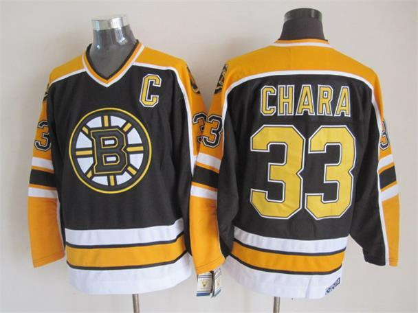 NHL Boston Bruins 33 Chara Black Throwback Jersey