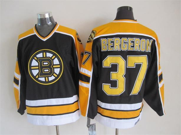 NHL Boston Bruins 37 Bergeron Black Throwback Jersey