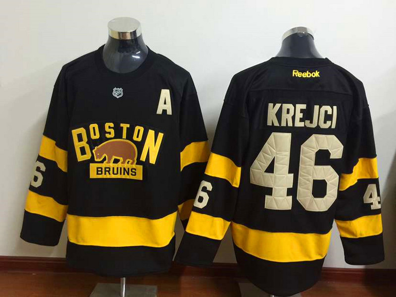 NHL Boston Bruins 46 David Krejci Black 2015 Winter Classic Premier Jersey