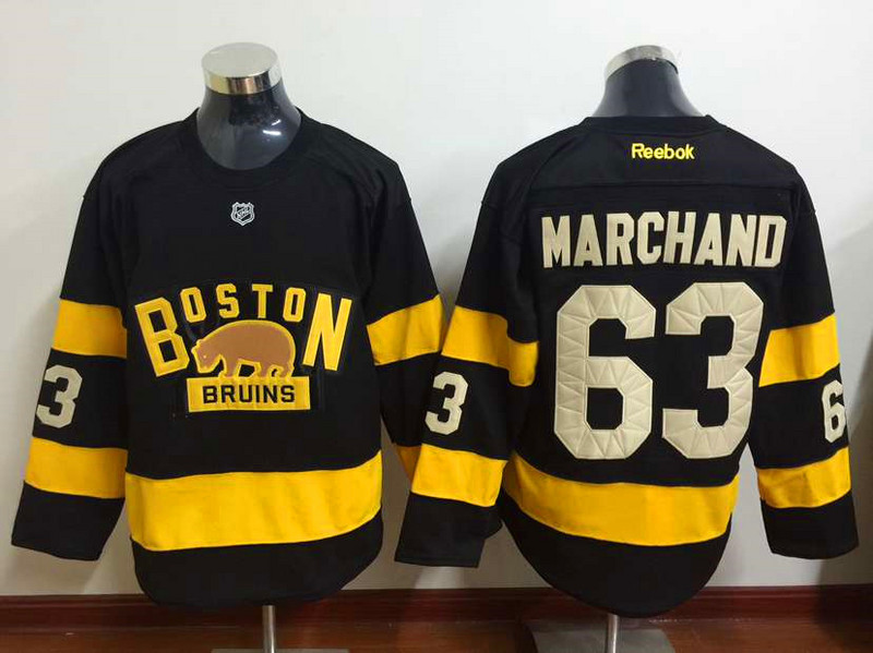 NHL Boston Bruins 63 Brad Marchand Black 2015 Winter Classic Premier Jersey