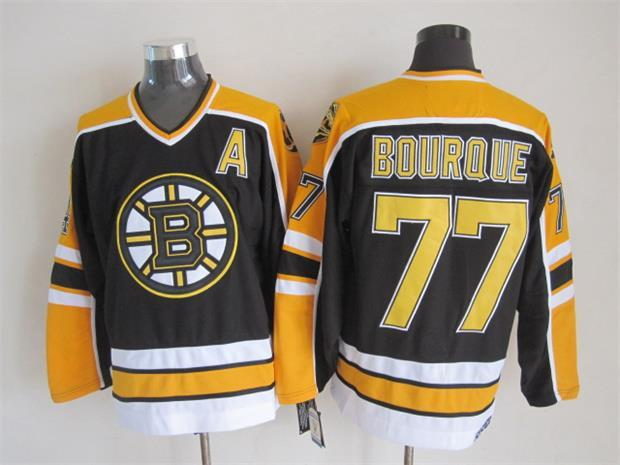 NHL Boston Bruins 77 BOURQUE Black Throwback Jersey