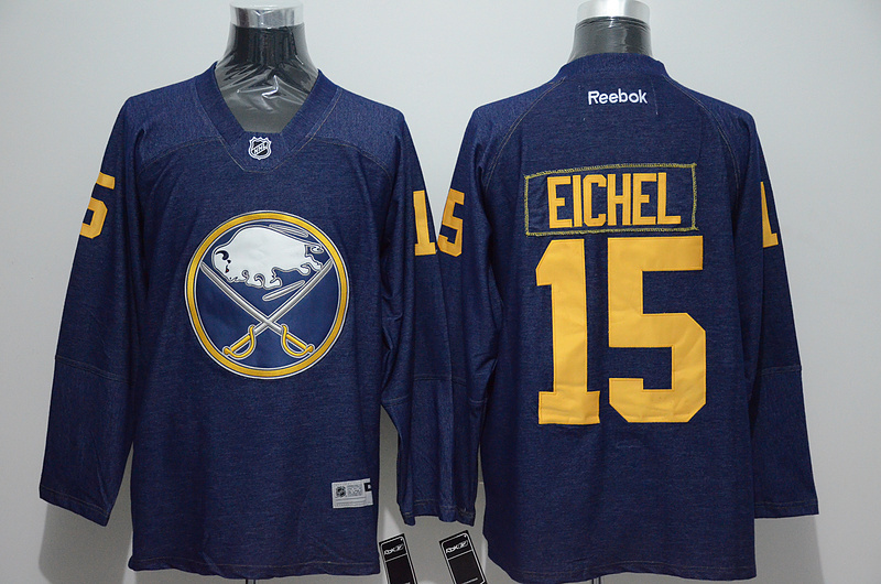 NHL Buffalo Sabres 15 eichel Cowboy Blue New Fabric Jersey