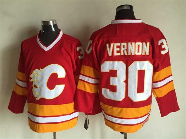 NHL Calgary Flames 30 vernon red Throwback Jersey