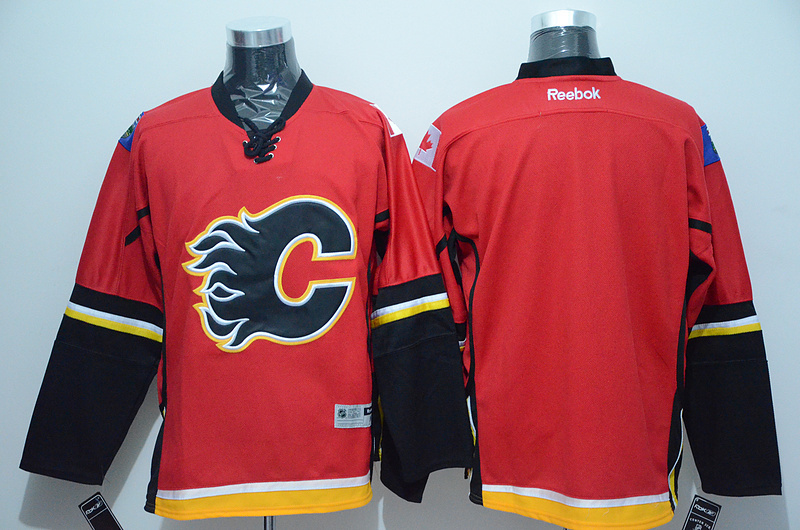 NHL Calgary Flames Blank Red 2015 Jerseys