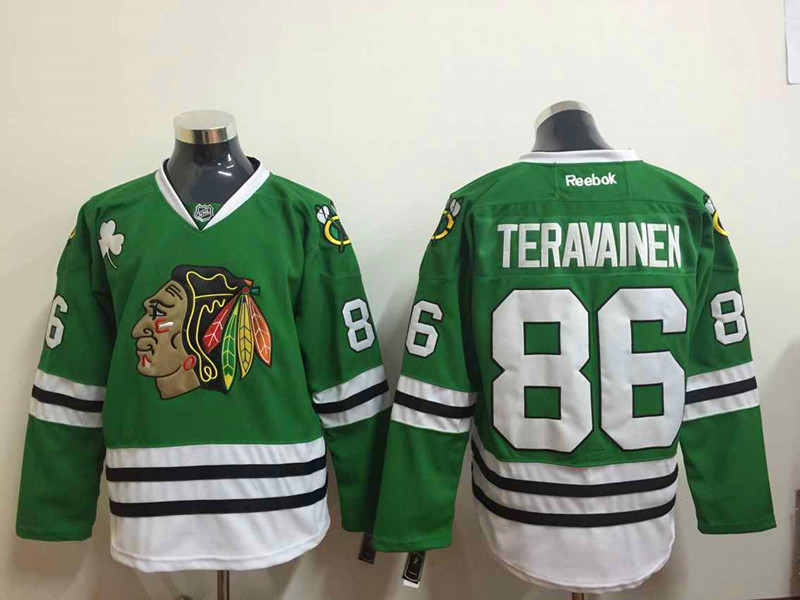 NHL Chicago Blackhawks 86 Teuvo Teravainen Green 2015 Jerseys