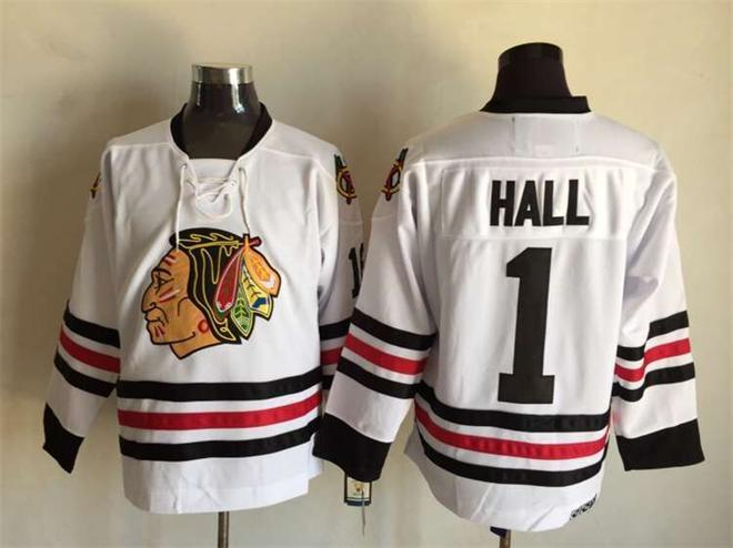 NHL Chicago Blackhawks 1 hall white 2015 Jersey