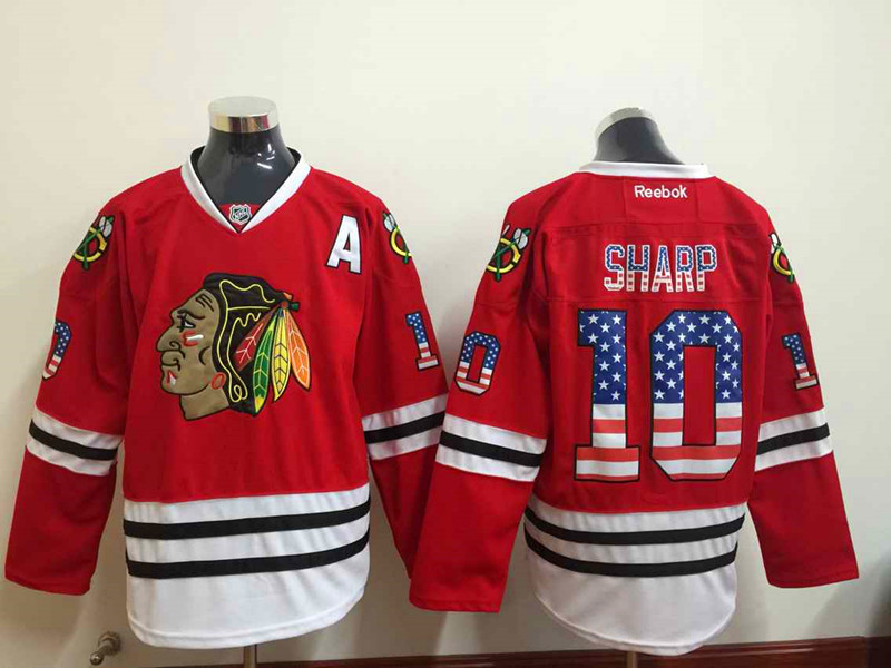 NHL Chicago Blackhawks 10 Patrick Sharp 2015 National Flag Edition Red