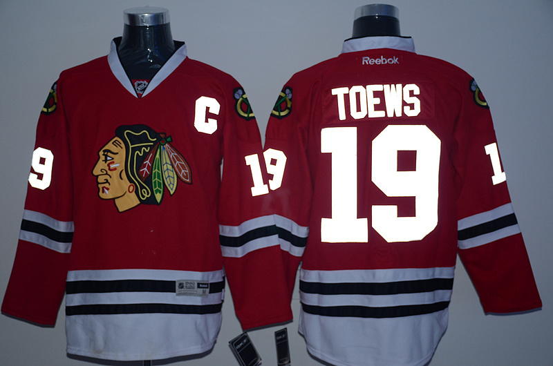 NHL Chicago Blackhawks 19 toews red reflective Jersey