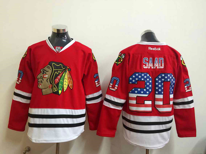 NHL Chicago Blackhawks 20 Saad 2015 National Flag Edition Red
