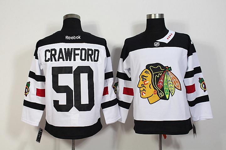 NHL Chicago Blackhawks 50 Corey Crawford White 2016 Stadium Series