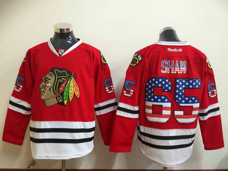 NHL Chicago Blackhawks 65 Andrew Shaw 2015 National Flag Edition Red