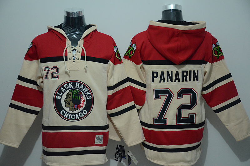 NHL Chicago Blackhawks 72 Panarin Cream Lace Up Pullover Hooded Sweatshirt