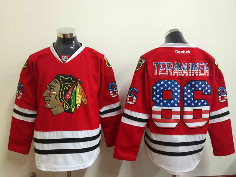 NHL Chicago Blackhawks 86 Teuvo Teravainen 2015 National Flag Edition Red