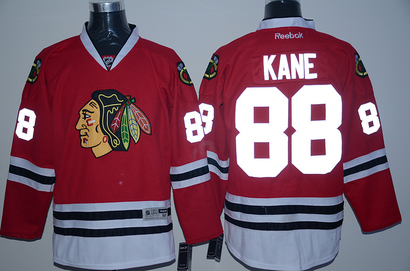 NHL Chicago Blackhawks 88 kane red reflective Jersey