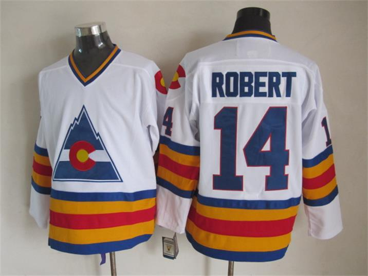 NHL Colorado Avalanche 14 Rene Robert White Retro Throwback