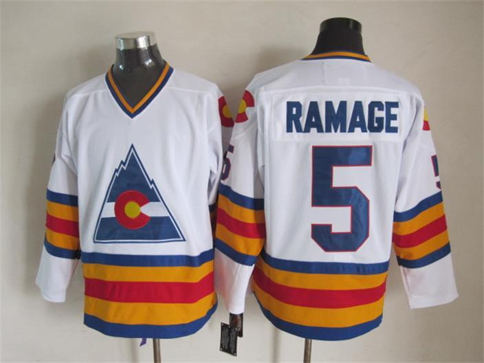 NHL Colorado Avalanche 5 Rob Ramage White Retro Throwback
