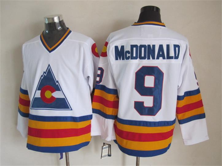 NHL Colorado Avalanche 9 Lanny McDonald White Retro Throwback
