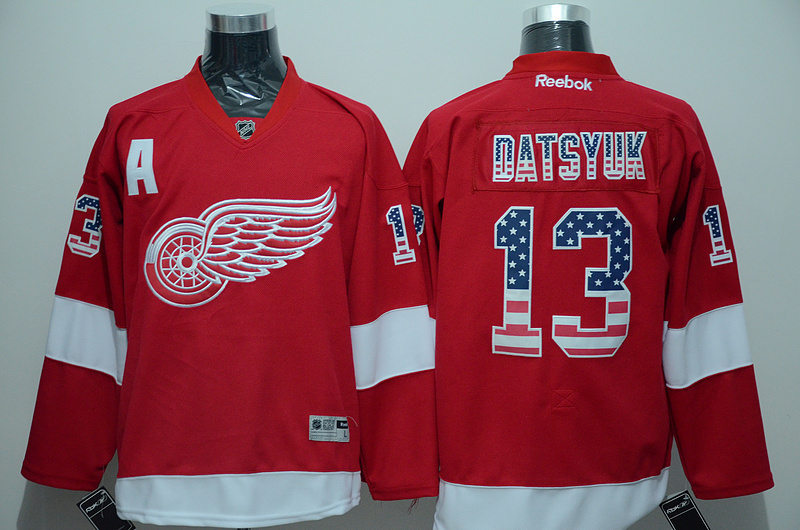 NHL Detroit Red Wings 13 Pavel Datsyuk Red 2015 National Flag Edition