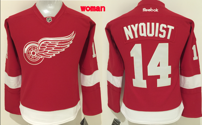 NHL Detroit Red Wings 14 Nyquist Red Women 2016 Jerseys