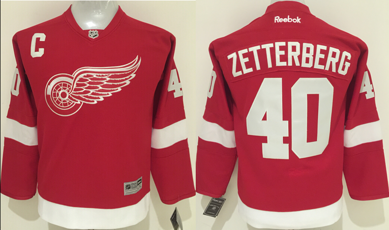 NHL Detroit Red Wings 40 Zetterberg Red Kids 2016 Jerseys