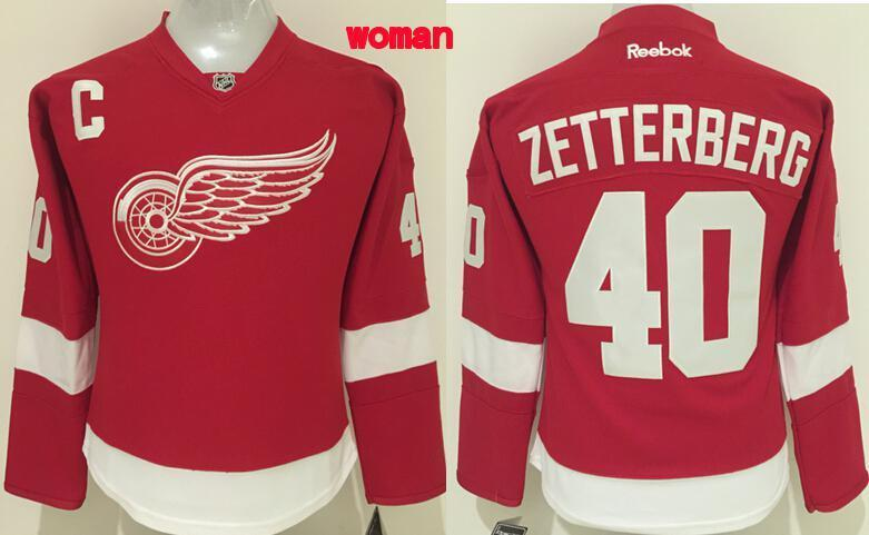 NHL Detroit Red Wings 40 Zetterberg Red Women 2016 Jerseys