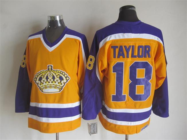 NHL Los Angeles Kings 18 TAYLOR Orange CCM Vintage Throwback