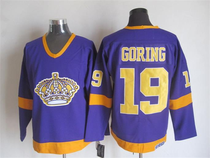 NHL Los Angeles Kings 19 BUTCH GORING Purple CCM Vintage Throwback