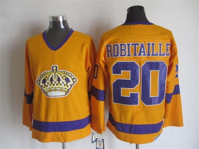 NHL Los Angeles Kings 20 Luc Robitaille Orange CCM Vintage Throwback