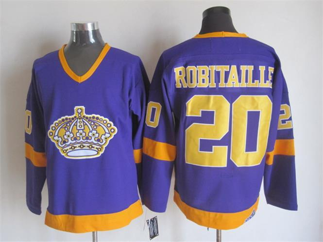 NHL Los Angeles Kings 20 Luc Robitaille Purple CCM Vintage Throwback