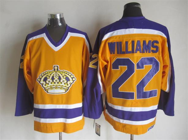 NHL Los Angeles Kings 22 TIGER WILLIAMS Orange CCM Vintage Throwback