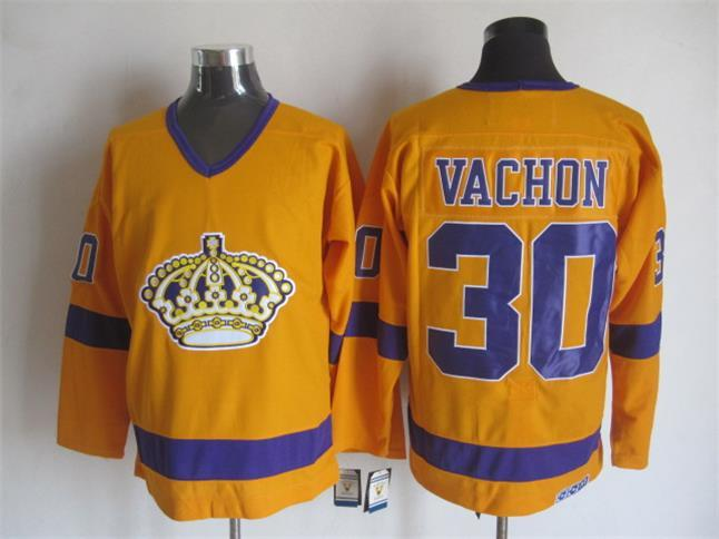 NHL Los Angeles Kings 30 Rogatien Vachon Orange CCM Vintage Throwback