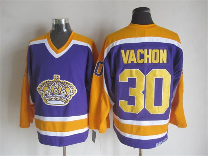 NHL Los Angeles Kings 30 Rogatien Vachon Purple CCM Vintage Throwback