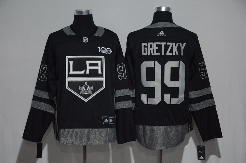 NHL Los Angeles Kings 99 Gretzky Black 1917-2017 100th Anniversary Stitched Jersey