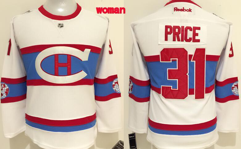 NHL Montreal Canadiens 31 PRICE White Women 2016 Jersey