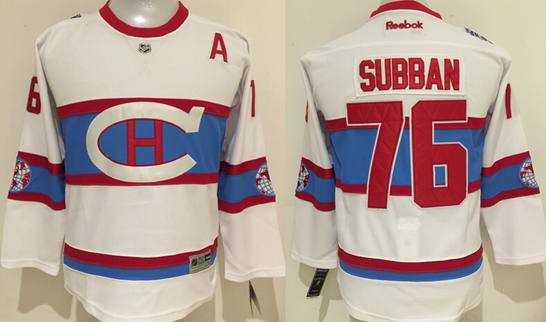 NHL Montreal Canadiens 76 Subban White Kids 2016 Jerseys