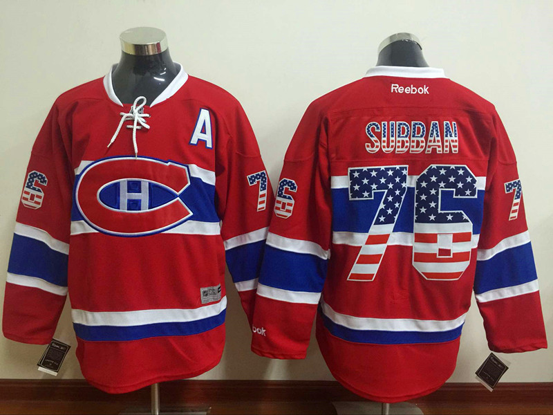 NHL Montreal Canadiens 76 subban red USA Flag Fashion Jersey