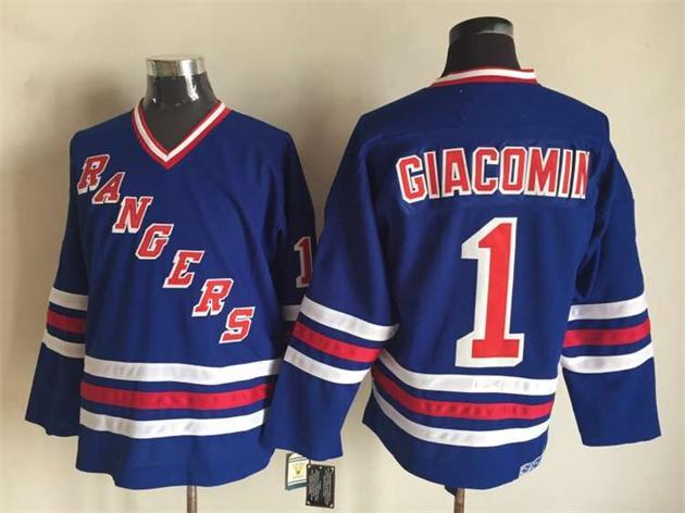 NHL New York Rangers 1 Eddie Giacomin Blue CCM Vintage Throwback