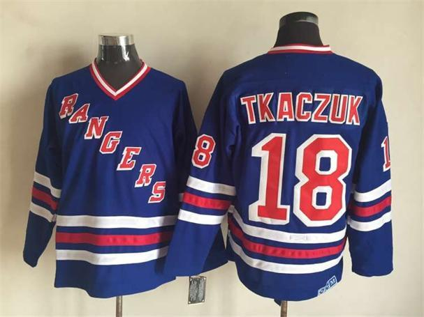 NHL New York Rangers 18 Tkaczuk Blue CCM Vintage Throwback