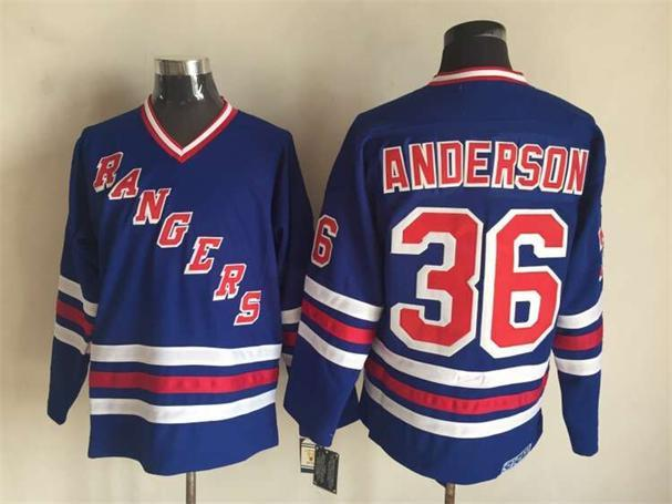 NHL New York Rangers 36 Anderson Blue CCM Vintage Throwback