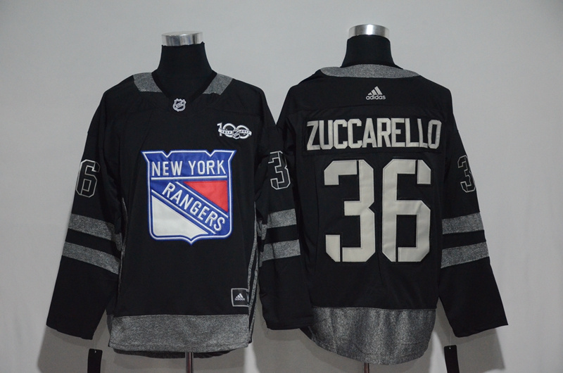 NHL New York Rangers 36 Zuccarello Black 1917-2017 100th Anniversary Stitched Jersey